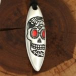Silver+Surf necklace Surfboard XL Mexican Skull